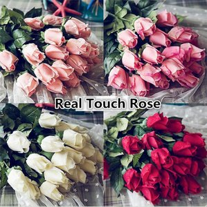 Wholesale- Fresh Real Touch rose Bud Artificial silk wedding Flowers bouquet Home decorations for Wedding Party or Birthday