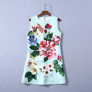 2020 Spring Newest Favour Sleveless Round Neck Floral Print Jacquard Sequins Beaded Short Mini Dress Runway Dresses A090023409