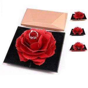 Женщины Складная Rose Ring Box Романтичный Творческий Lady Ювелирные изделия Кольца Случай хранения День святого Валентина Малый Gift Box Home Decor TTA695-1