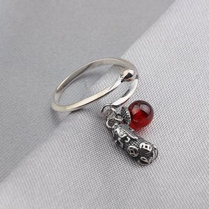 female black Thai silver s925 pure silver pomegranate red lucky the mythical wild animal and opening ring