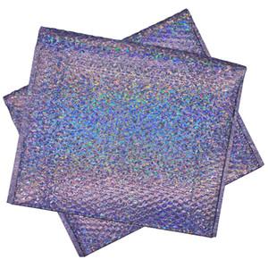 20pcs grande enveloppe à bulles holographique Laser Silver Mailer Bag Enveloppe rembourrée métallique pour l'emballage de produits fragiles