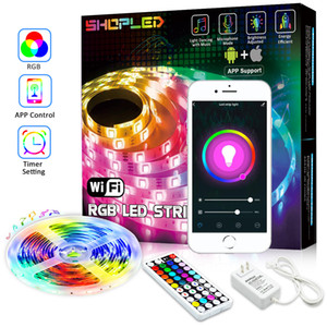 5050 RGB Wifi Controller LED Strip light 5M 30led m Neon Flexible Tape Ribbon Strip Bluetooth Music Control 12V Power Adapter