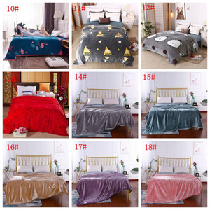 Autumn Winter Warm Bed Blanket Soft Comfortable Coral Velvet Blankets Solid Air Conditioning Rug Plaid Stripe Print Blanket Shawl DBC VT1136