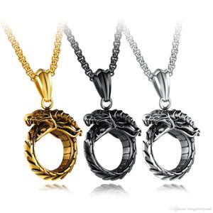 Dragon Style Punk Collar Colgante de Los Hombres 316L Steeless Steel Link Cadena de Oro / Negro / Blanco Collares de la Joyería Para Hombre Regalo GX1383