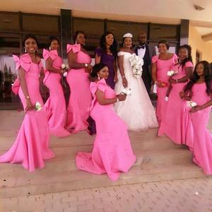 2020 Pink Mermaid Bridesmaid Dress With Bow Scoop Women Formal Wedding Party Dress Gown Vestido De Fiesta De Boda