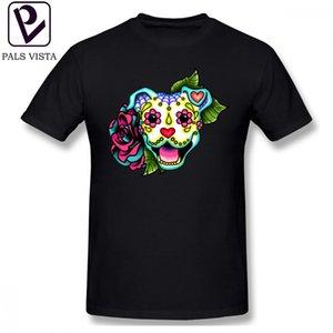Amstaff T-Shirt Lächelndes Pitbull im weißen Tag des toten Pitbull Zuckerschädel-Hundet-shirt Nettes männliches T-Shirt Strand-XXX-T-Shirt