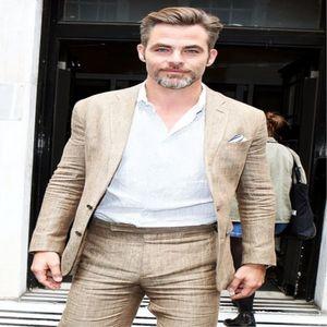 2020 Son Coat Pant Champagne Bej Keten Suits Erkekler Slim Fit Yaz Plaj Nedensel Smokin Özel 2 Adet Ceket Tasarımları