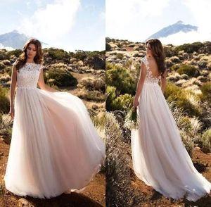 Sin espalda Vestidos de novia barato País de la vendimia de Boho de encaje Blush Pink Cap mangas una línea de vestidos de novia de tul vestidos de boda atractivo
