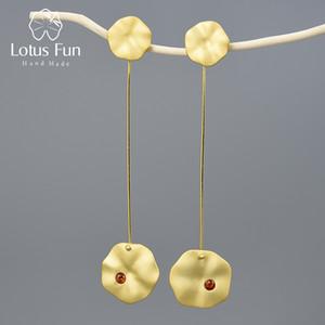 Kadınlar Bijoux Lotus Fun 18k Altın Lotus Yapraklar Dangle Küpe Gerçek 925 Gümüş Doğal El Yapımı Güzel Takı Küpe
