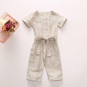 Bebê tarja meninas macacões miúdos criança faixa vertical single-breasted verão geral novo de algodão crianças manga curta A2766 jumpsuit