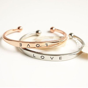 Amore aperto Bracciali Bangle per le donne in acciaio inox inciso Positivo Inspirational Citazione mano Stamped polsino di lettere dei monili del braccialetto del DHL