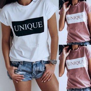 Palavras das mulheres Imprimir Magro Manga Curta Sexy Camisas Soltas Moda Feminina Verão Clube Casual Tops Camisa