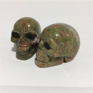 2inches gros naturels de haute qualité Unakite crâne Forme des pierres en cristal sculpté à la main Palm pour le présent ou Collection