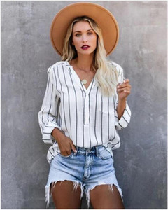 Sleeve Lapel Neck Shirts New Style Woman Shirts Fashion Striped Panelled Natural Color Shirts Casual Long
