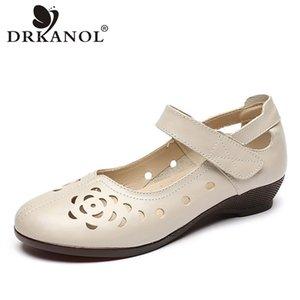 DRKANOL mode en cuir véritable femmes chaussures plates évider respirante Chaussures d'été dames Mère Taille Casual Chaussures 41