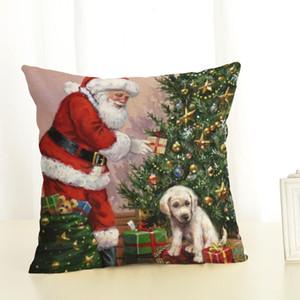 Cão do Natal Pillowcase Papai Noel Cotton decorações para casa Ano Novo linho travesseiro cobrir Office Home Cushion