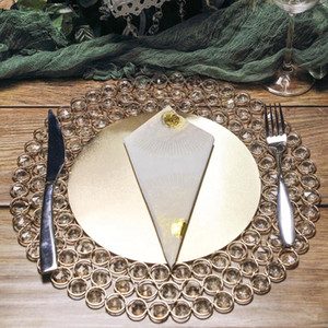 "14"" Wired Beaded Metal Charger Plate With Acrylic Crystal Beads For Weddings Events Wholesale senyu0413"