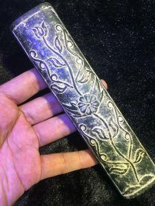 Коллекционная Большой Treasure Изысканный китайский Antique Old Jade Power Flower Beauty Paper Retainer Тотем Carving 17.5cm