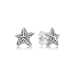 Новые Аутентичные Настоящее Стерлингового Серебра 925 Морская Звезда Пандора Серьги 290748CZ DIY Jewelrynew