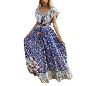 CHAMSGEND mulheres vestido de verão vestidos longos maxi vestido de verão femme 2019 Bohemian Impresso cintura V-Collar Chiffon Praia G0418 # 10