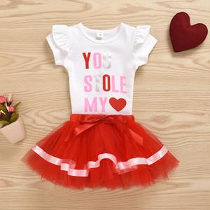 Été 2020 Bébés filles Set Vêtements Lettre de jour du nouveau-né bébé bébé Valentines T-shirt Tops Tutu Tailleurs jupes