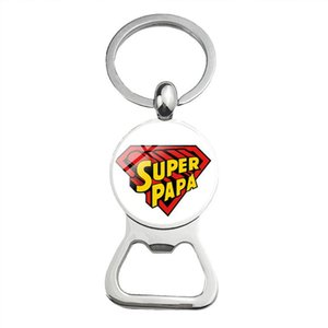 Cute Super Papa Dad Beer Bottle Opener Keychain Silver Plated Glass Cabochon Key Chain Jewelry Love Gifts For Father