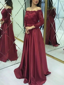 Burgundy Mother of Bride Dress Lace Satin Off the Shoulder Long Sleeve Wedding Party Guest Formal Evening Prom Gowns