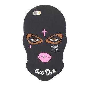 Máscara caso de silicona para iPhone Pro Max 11 7 8 6 6s Plus SE 2020 X XR XS desgarro niña linda del teléfono del caso de la Muñecas