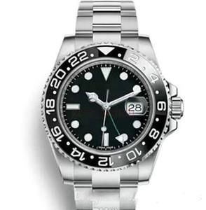 Автоматическое скольжение с гладкой секундной стрелкой Мужские часы GMT Lum красно-синий Керамическая рамка Безель из нержавеющей сапфира с оригинальной застежкой Мужские часы