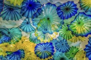 Platos calientes de la venta hecha a mano de flores de cristal lámparas de pared coloreada azul del extracto del vidrio ligero de la pared de cristal de Murano colgantes Placas arte de la pared