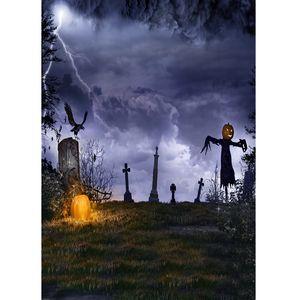 Background fotográfica Fundo da abóbora de Halloween Espantalho Tombs Dark Cloud foto do vinil para crianças bebê Photoshoot Duche
