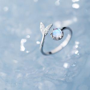 Hohe Qualität Mermaid Ring 925 Sterlingsilber Blue Ocean Stein Träne Fish Tail Ringe für Frauen öffnen Ajudstale Ring Schmuck