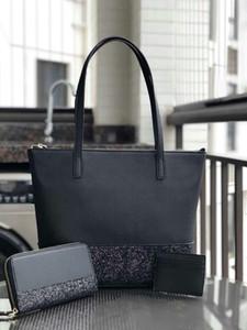 Kadınlar marka tasarımcısı büyük glitter çanta seti Patchwork shining omuz crossbody alışveriş çantaları pu kadın çanta tote