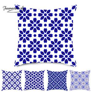 Fuwatacchi Bleu Géométrique Coussin Cover Imprimé Pillow cover Coussins Décoration pour La Maison Canapé Throw Coussins