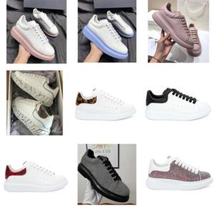 Diseñador de los hombres mujeres de la plataforma zapatilla de deporte casuales de la moda Formadores luminoso fluorescente del zapato de cuero de serpiente Volver Chaussures Pour Hommes