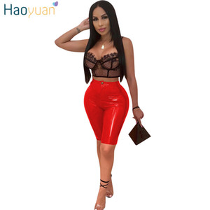 HAOYUAN PU Leather Sexy Shorts Women Fashion High Waist Faux Leather Biker Shorts Streetwear Push Up Knee-Length Short Pants