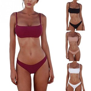 Nuova estate delle donne Solid Bikini Push-up non imbottita il reggiseno del costume da bagno Costumi da bagno Triangle Bagnante Suit Swimming Suit Biquini