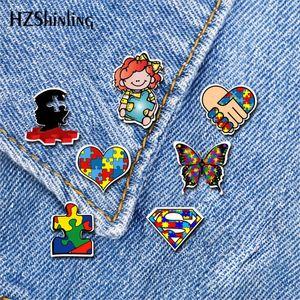 2020 Nuovo autistico Simbolo acrilico spilla Autism Awareness Pin Spilla d'argento di colore d'arte epossidiche Spille