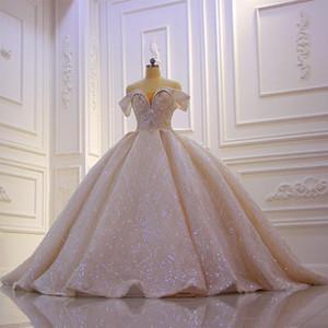 2020 Tamaño de lujo Champagne lentejuelas con cuentas de bola vestidos de novia vestido de época árabe Dubai Crystal Plus Off hombro vestido de novia
