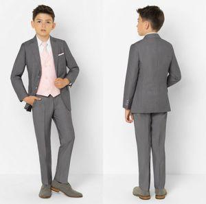Grey 2020 Handsome Boys Formal Wear Jacket Pants 2 Pieces Set Suits for Wedding Dinner Children Kids Tuxedos