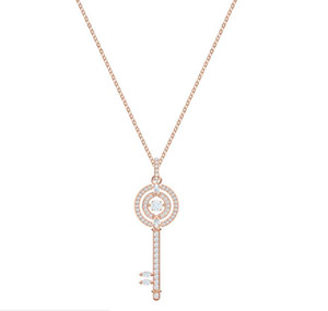 SEKT DANCE Schlüsselanhänger Halskette S925 Sterling Silber verzierten Diamant-offener Kreis-Schlüssel-Halskette Frau Hochzeit Ne