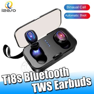 Ti8s TWS Earbuds Bluetooth 5.0 Handsfree True Wireless Stereo Headphone Gaming Sports Design Mini Heads with 400Mah Charger Bin izeso