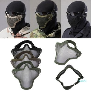 Wholesale-BB Bomb Game mask Half Face Metal Mesh Protective Double Belt Air Soft Paintball Guard Protect CS Mask Man's
