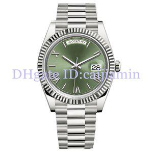 2019 최고의 남성 시계 40MM 그린 로마 숫자 얼굴 큰 날짜 자동 기계 시계 남성 사파이어 유리 스테인레스 스틸 손목 시계