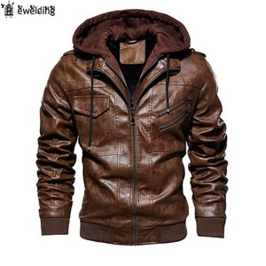 New Men Motorcycle Leather Jackets Winter Male Fashion Casual Hooded Faux Jacket Mens Warm PU Leather Jackets Coats
