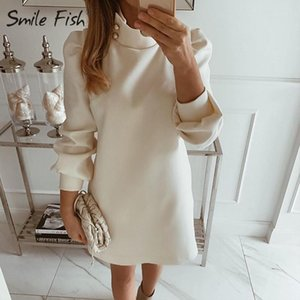 Office Lady Straight Mini Dress Turtleneck Buttons Long Sleeve Women Pure Dress Elegant Party Fall Spring White Dressess G1114