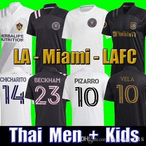 Top Thai 2020 Inter Miami Beckham PIZARRO LAFC Vela Soccer Jersey 2021 Los Angeles FC LA Galaxy Chicharito Football Shirt MEN kids kits sets