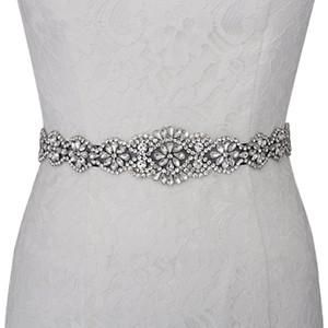 100% imagen real hechos a mano perlas de diamantes Fajas nupciales blanco marfil rojo azul Muliti Color cinturones de boda para el vestido de boda vestidos de noche