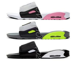 2020 Yeni 90 Slayt Duman Gri Volt Siyah Beyaz Gül Gri Erkekler Kadınlar 90s Beyaz Siyah Ev Günlük Ayakkabılar Boyutu 36-45 Soğuk