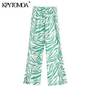 KPYTOMOA Women 2020 Chic Fashion High Waisted Printed Pants Vintage эластичный пояс боковые вентиляционные отверстия Женские брюки Pantalones Mujer